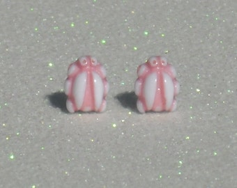 Vintage Pink and White Little Bug Stud Earrings