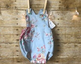 Blue Floral Baby Girl Romper - Girls 1st Birthday Outfit - Baby Girl Summer Romper - Baby Girl Easter Outfit - Baby Rompers for Girls
