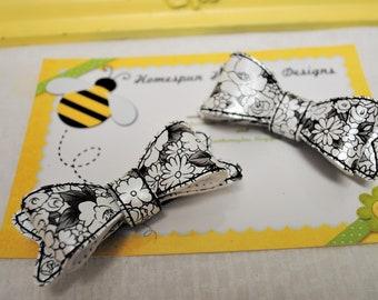 Floral Designer Hair Clip for Toddler Girls Hair Clips for Wedding Shower Favor Flower Hair Bows for Girls Hair Bows Black Hair Bow for Baby