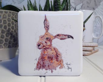 Coaster, Hare, Animal Coaster, Ceramic, Tile coaster, Kitchenware, hand made, Decor, Interior Kitchen, Animals, British Wildlife, Country