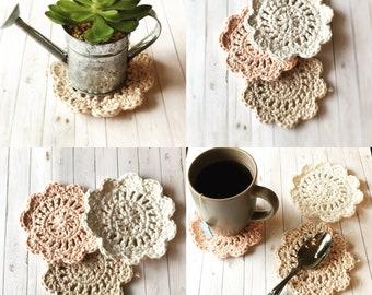 Wildflower Coasters ~ crochet coasters decorative crochet coasters