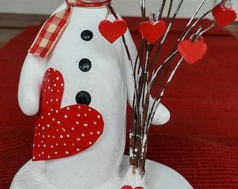 hand sculpted polymer clay Valentine Snowman figurine