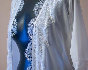 Long chiffon robe Bridal robe