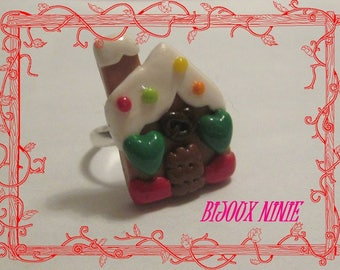 Ring in polymer clay gingerbread house cookie