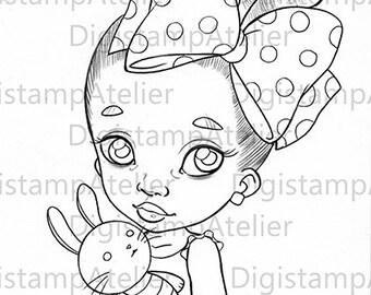 Black Babe with Puppet. INSTANT DOWNLOAD Digital Digi Stamps.