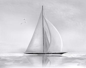Sloop - 11 x 14 nautical sailing ship sloop yacht art painting - Cottage Decor