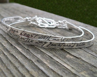 LIMITED TIME SALE Custom Stamped Sterling Silver Phrase Bracelet Clasp Cuff - Adjustable - Your Own Message and Font - Hand Stamped Inside o