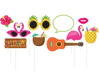 Hawaiian Luau Photo Booth Props [10pc] Pineapple Flamingo  Party Supplies Activity Game Decorations Centerpiece Sticks Supply