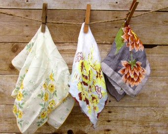Antique Floral  Handkerchief Set of Three Vintage Hankies  Crafting - Sewing- Quilting Supplies -FREE SHIPPING