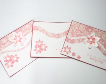 set of 3 soft pink and white cards - pink flowers, roses - wish you the most beautiful day - monochromatic - embossed - elegant birthday