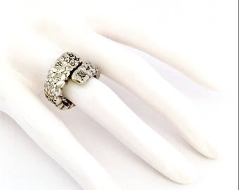 Vintage Sterling Silver Carved Flowers Spoon Ring