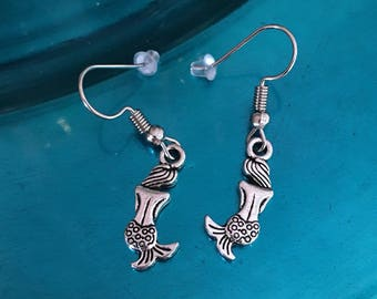 Mermaid Earrings Fish Hook Earrings Backside of Mermaids