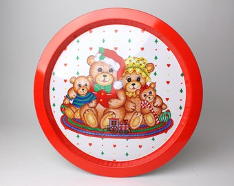 Vintage Christmas Round Tin Tray - Bears Teddy Bear Family Red Metal Coffee Tea Serving Tray Train Santa Tree Hearts