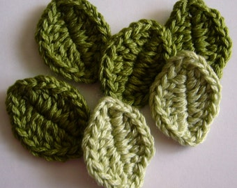 Crocheted Leaves - Wool Blend - Crocheted Leaf Appliques - Crocheted Leaf Embellishments - Set of 6