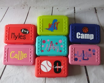 Custom Pencil Boxes; Personalized Pencil Boxes; Back to School Pencil Boxes