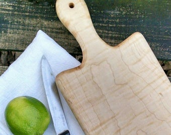 Maple Wood Cutting Board with Handle, Handmade Wood Breadboard, Rustic Serving Board, Farmhouse Kitchen Cutting Board, Cheese Board