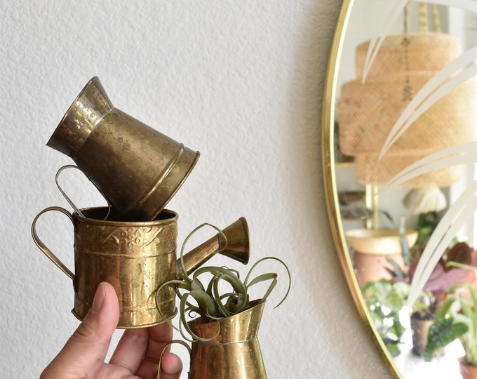 small mini solid brass watering can vase