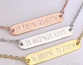 Long Distance Relationship Necklace in Gold, Silver or Rose Gold Engraved with Latitude and Longitude Coordinates