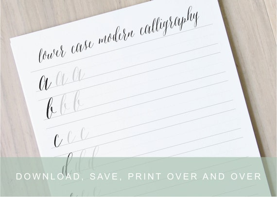 Lower case modern calligraphy worksheet learn calligraphy printable