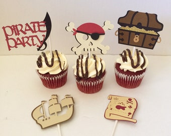 Pirate Cupcake Toppers, Set of 5 Pirate Cupcake Toppers, Pirate Party, Under the Sea Party, Ahoy Party, Pirate Birthday