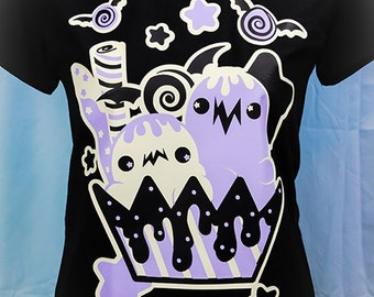 Creepcake Sundae Halloween Inspired Graphic T Shirt Kawaii Fairy Kei Pastel Goth