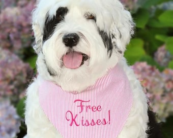 Free Kisses! Personalized Pink Seersucker Dog Bandana • Custom Monogrammed Scarf  • Classic Tie Bandana • Puppy Gift by Three Spoiled Dogs