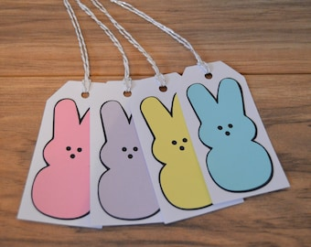 Easter Peeps Gift Tags - Set of 4 - Marshmallow Peeps - Gift Tags - Easter - Peep Bunny - Personalize Tags - Easter Gift Tags