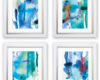 "Abstract Art Print Set, 4 Watercolor Abstract, digital downloads, Printable Abstract, instant download, each one 10""x8"" size, Art set"