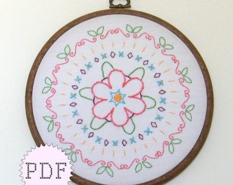 Mandala 1 Hand Embroidery PDF Pattern Instant Download Floral Flowers
