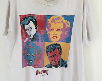 80s 90s Marilyn Monroe And James Dean Hollywood Icon Artists Pop Art Shirt XL