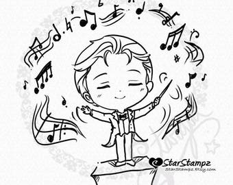 The Music Conductor DIGITAL STAMP Instant Download