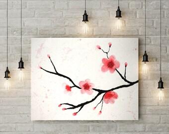Cherry Blossom Watercolor Printable Art, Flower Painting, watercolor Painting, Cherry Blossom Print, Instant Download, Sakura tree, Wall Art