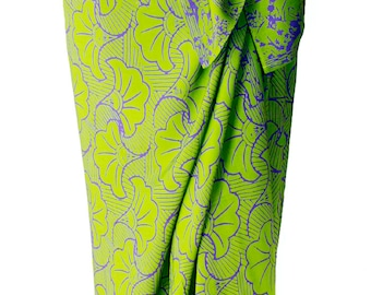 Beach Sarong Batik Pareo Lime Green & Purple Gingko Sarong Skirt Women's Beach CoverUp Green Batik Sarong Beach Wrap Skirt - Womens Swimwear