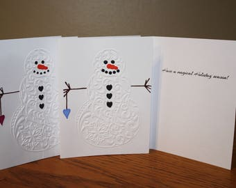 Christmas Card, snowman, pack of 5