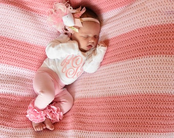 Newborn Take Home Outfit, Baby Girl outfit in powder pink and gold, Her First Monogram, Take Me Home Outfit, bodysuit, ruffle leggings, bow