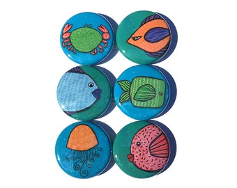 Fish Magnet Set or Fish Pinback Button Set - Cute Fish Fridge Magnets or Fish Pins - Fish Lover Gift, Party Favor, Animal, Ocean or Sea Life