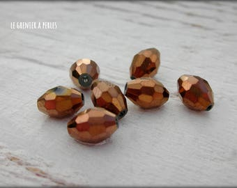 Warheads faceted Bronze 6 x 8 X 10 mm beads