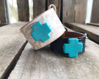 vintage belt CUFF with TURQUOISE CROSS