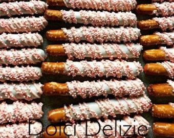 Pink Chocolate Dipped Covered Pretzels, Girls Baby Shower Treats, Pink Wedding Favors, Girls Baptism Favors, Girls Communion Favors