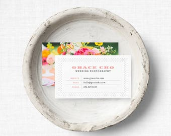 Vintage Business Card Template | Hobnail Business Card Template | INSTANT DOWNLOAD Business Card Template with Photo Backer