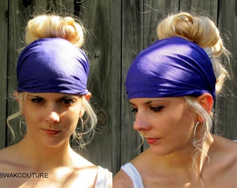 Wide Yoga Headband, Stretchy Cotton Jersey Headband, Women's Workout HeadBand Hair Wrap - Purple or Choose Your Color