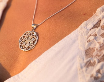 Flower Of Life Necklace  // Geometric Pendant Necklace  // Sterling Silver Sacred Geometry pendant // Mandala // Sterling Silver Necklace