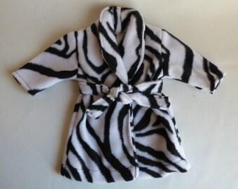 18 inch Doll Robe, Black and White Zebra Print, 18 inch Doll Clothes