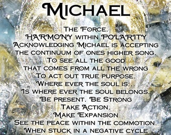 Poetry Print - Arch Angel Michael - Poetry Print - Meditation Tool - Altar Card