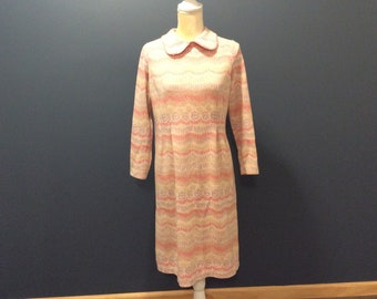 1960's Irene Herbert Polyester Knit Dress with Whip Stitch Trim