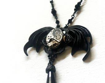 Bat wing steampunk necklace