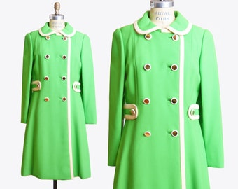 Vintage Dress Coat / 1960s Coat / Bright Leaf Green Coat / Peter Pan Collar / xs s