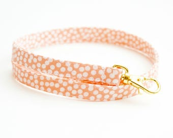 Coral Dots Skinny Fabric Lanyard - Thin Lanyard with Swivel Clasp - 1/2 Inch Cute Key Lanyard - Half Inch Key Strap - Cute Teacher Lanyard