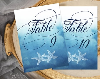 SALE 50% Off - Table Number Cards 1 to 15 - Ocean Falls (Style 13651)