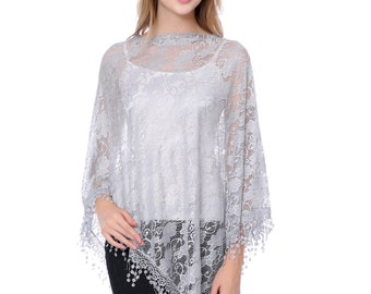 Gray Lace Poncho/Summer Cover Up(MSF782-3-03)